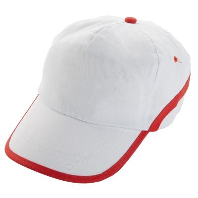 Шапка  - бяла/червен кант