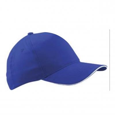 Бейзболна шапка сандвич - кралско синьо с бял кант,  ВС-003