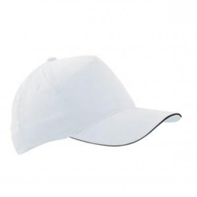 Бейзболна шапка сандвич - бяла с черен кант ВС$003