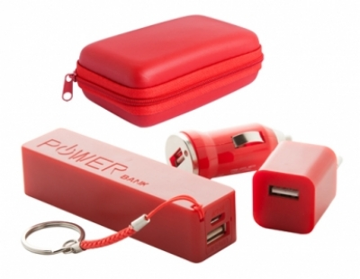 "Rebex"" USB charger and power bank set-red"
