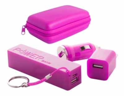 "Rebex"" USB charger and power bank set-violet"