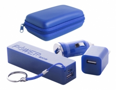"Rebex"" USB charger and power bank set-blue"