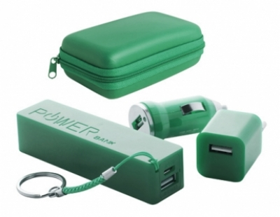 "Rebex"" USB charger and power bank set-green"
