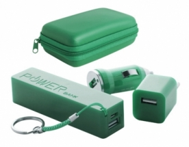 """Rebex"""" USB charger and power bank set-green"""