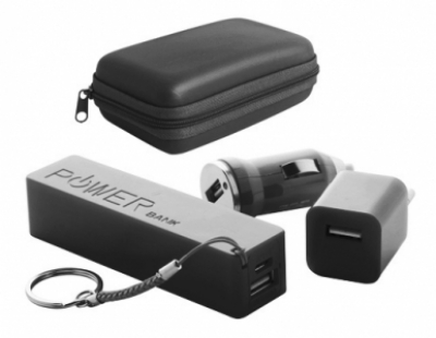 "Rebex"" USB charger and power bank set-black"