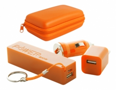 "Rebex"" USB charger and power bank set-orange"