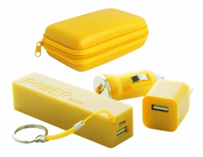 """Rebex"" USB charger and power bank set-yellow"