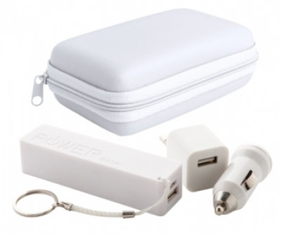 """Rebex"" USB charger and power bank set-white"