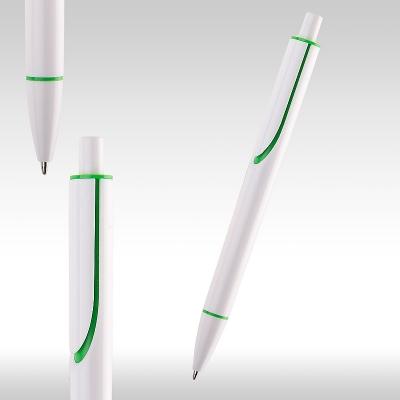 Химикалка CLEAR бяла със зелено