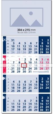 Calendar 4 monhts   2019 Четири тела Лайт СИН / ЧЕРВЕН  Werbekalender 4-monat