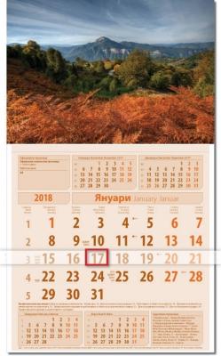 2018 Бизнес Календар Кафяво / Оранж