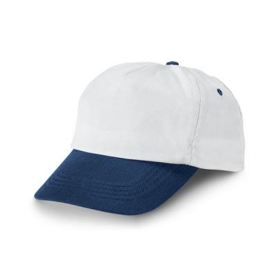 Бяла бейзболна шапка със синя козирка