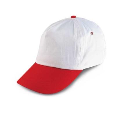 Бяла бейзболна шапка с червена козирка