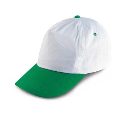 Бяла бейзболна шапка със зелена козирка