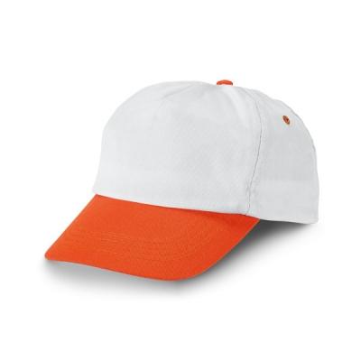 Бяла бейзболна шапка с оранж козирка