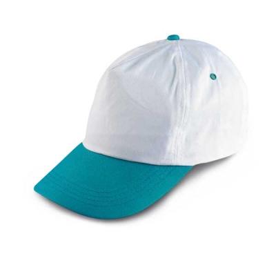 Бяла бейзболна шапка с тюркоаз козирка