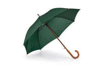 Тъмно зелен чадърс дървена дръжка