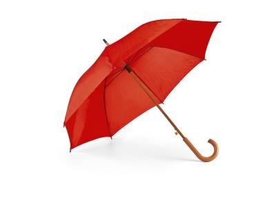 Червен автоматичен чадър с дървена дръжка