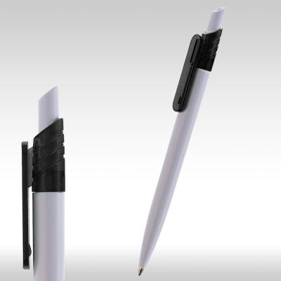 рекламна химикалка 90085, бяло тяло, черен клипс
