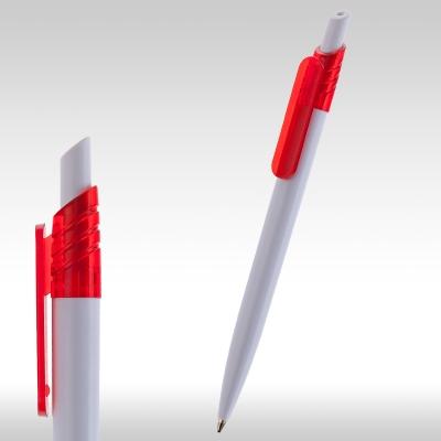 рекламни химикалки 90082, бяла с червен клипс