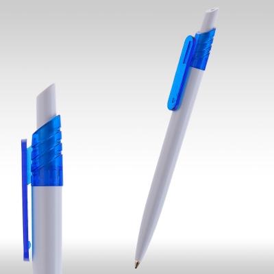 рекламни химикалки 9008 бяла рекламна химикалка със син клипс,