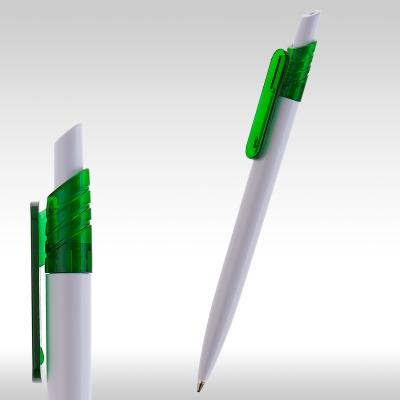 рекламни химикалки 90083, бяло тяло, зелен клипс