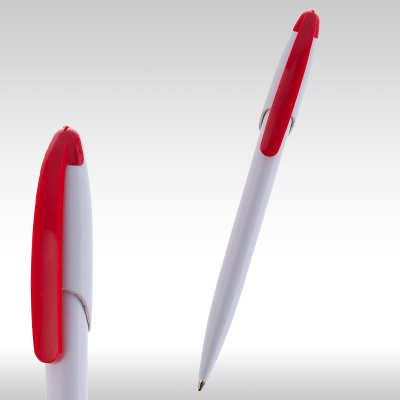 химикалка обла бяло-червено