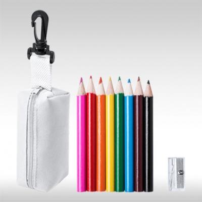 Бял комплект 8 бр. цветни моливи с острилки и несесер AP781272-01