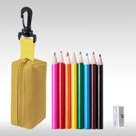 Жълт комплект 8 бр. цветни моливи с острилки и несесер AP781272-02