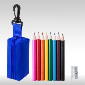 Син комплект 8 бр. цветни моливи с острилки и несесер AP781272-06