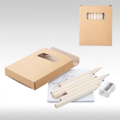 Комплект цветни моливи с картинки и острилка AP741313