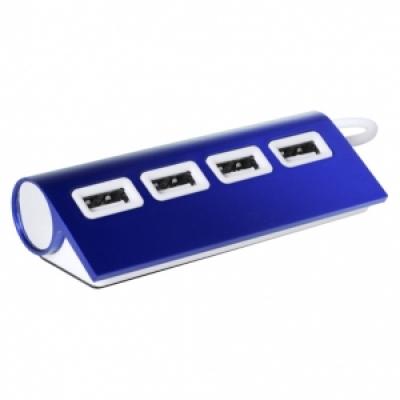 метален хъб с 4 порта, USB 2.0 - АР781137-06 - син