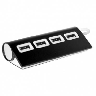 метален хъб с 4 порта, USB 2.0 - АР781137-10, черен