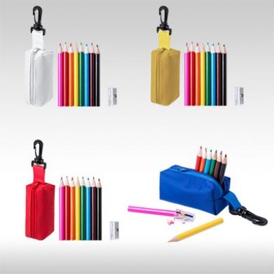 Комплект 8 бр. цветни моливи с острилки и несесер AP781272
