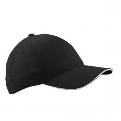 Бейзболна шапка сандвич - черна с бял кант,  ВС-003