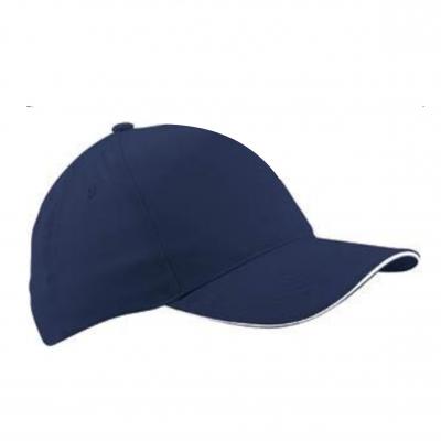 Бейзболна шапка сандвич - тъмно синьо с бял кант,  ВС-003