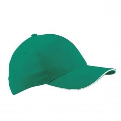 Бейзболна шапка сандвич - зелена с бял кант,  ВС-003