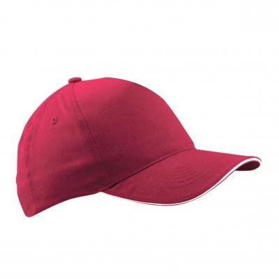 Бейзболна шапка сандвич - червена с бял кант,  ВС-003