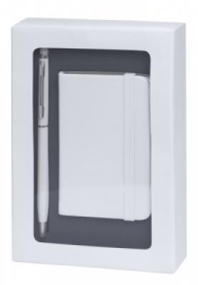 Комплект мини бележник и химикалка - AP741853-01, бял