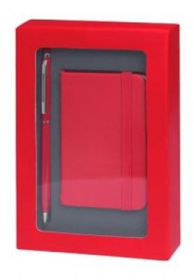 Комплект мини бележник и химикалка - AP741853-05, червен