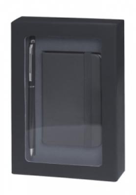 Комплект мини бележник и химикалка - AP741853-10,черен