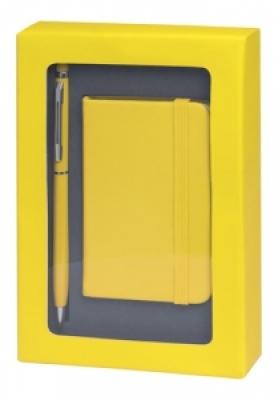 Комплект мини бележник и химикалка - AP741853-02, жълт