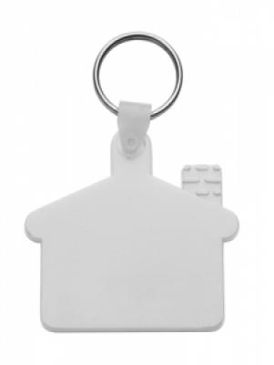Пластмасов клюдодържател-къщичка с метален пръстен., еластичен, АР80933-01, бял