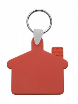 Пластмасов клюдодържател-къщичка с метален пръстен., еластичен, АР80933-05, червен
