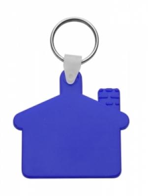 Пластмасов клюдодържател-къщичка с метален пръстен, еластичен, АР80933-06, син