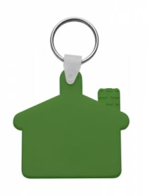 Пластмасов клюдодържател-къщичка с метален пръстен, еластичен, АР80933-07, зелен
