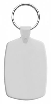 Правоъгълен, пластмасов ключодържател с метален пръстен, еластичен,  AP809331-01, бял