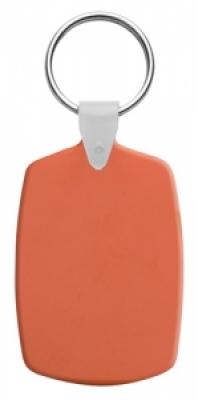 Правоъгълен, пластмасов ключодържател с метален пръстен, еластичен,  AP809331-03, оранж