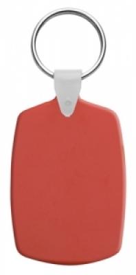 Правоъгълен, пластмасов ключодържател с метален пръстен, еластичен,  AP809331-5, червен
