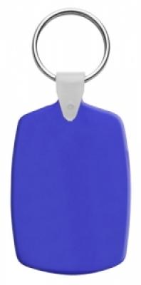 Правоъгълен, пластмасов ключодържател с метален пръстен, еластичен,  AP809331-06, син